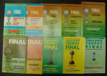 Collection of 10 different FA TROPHY FINAL football programmes